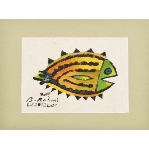 Dil Balığı Paspartulu Yazma - Yeşil