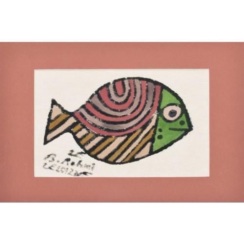 Trança Balığı Paspartulu Yazma - Kiremit Rengi