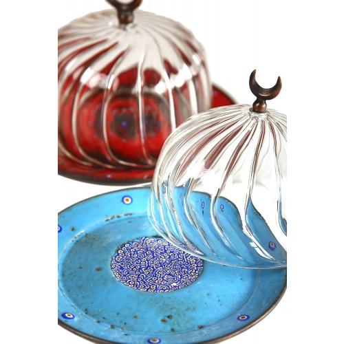 Cam Kapaklı Mavi Emay Lokumluk