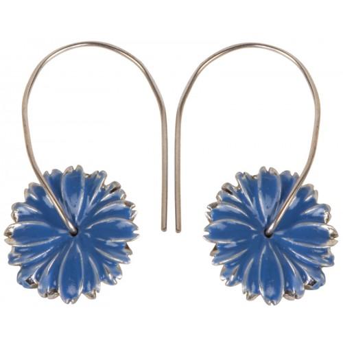 Mineli Çiçek Gümüş Küpe - Mavi