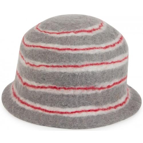 Keçe Şapka - Kırmızı Gri Çizgili