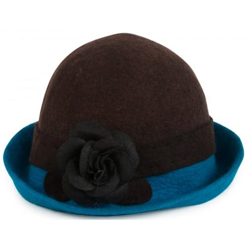 Keçe Şapka - Kahverengi Mavi Çiçekli