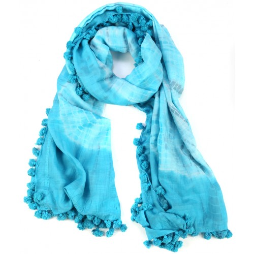 Mavi Püsküllü İpek Koton Batik Şal