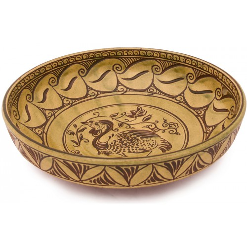 Bizans Mezgeldek Kuşlu Seramik Tabak