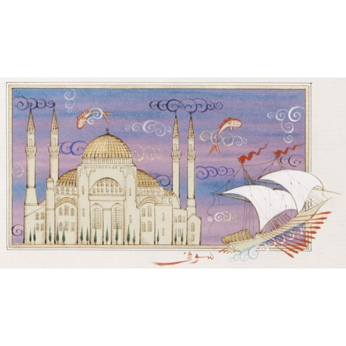 Ayasofya ve Kalyon İstanbul Minyatür