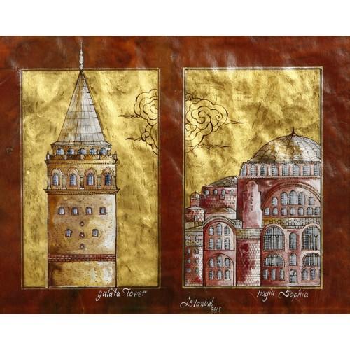 Galata Kulesi ve Ayasofya İkilemesi Minyatür