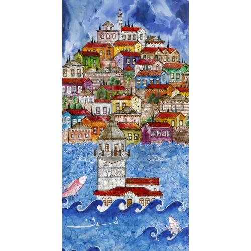 Renklendirilmiş Kız Kulesi ve İstanbul Manzaralı Minyatür