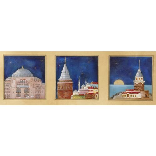 Galata, Kız Kulesi ve Ayasofya Üçlemeli Minyatür