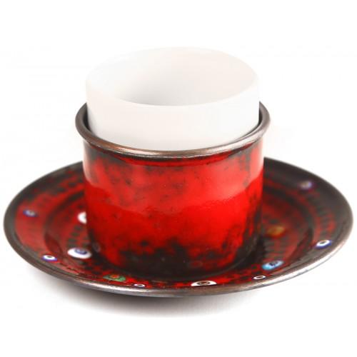Bakır Emay Türk Kahvesi Fincanı  / Espresso Fincanı - Kırmızı