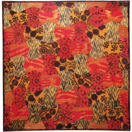 İpek Koton Vintage Kırmızı Mavi Yatak Örtüsü