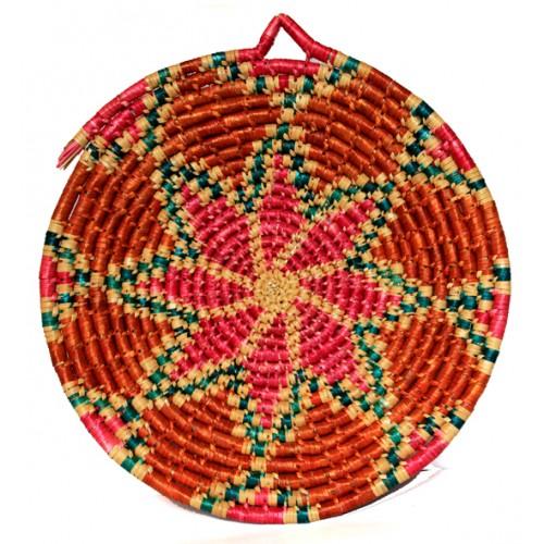 Buğday Sapı Sepet Duvar Süsü - Çiçek