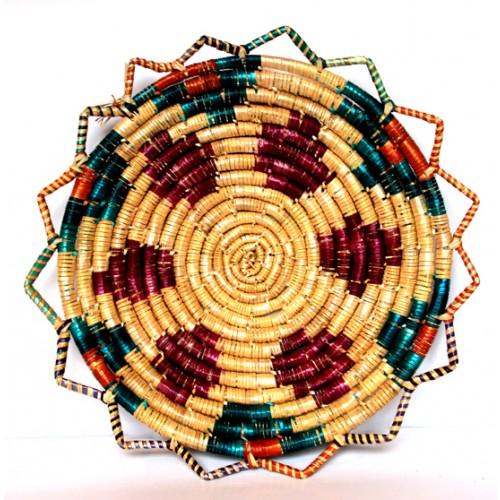 Buğday Sapı Sepet Duvar Süsü - Geometrik Desen