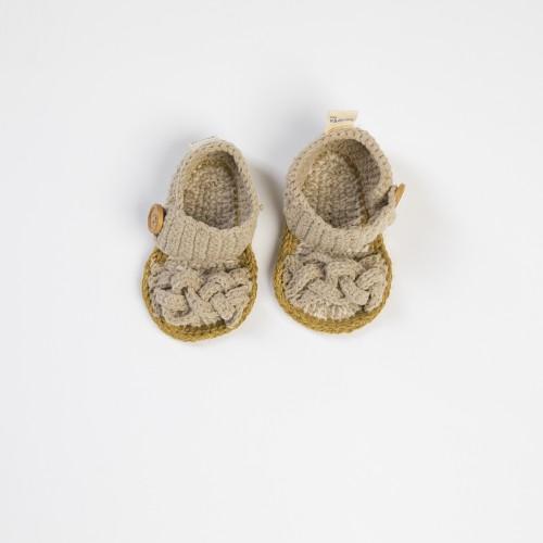 Ekru Örgü Bebek Sandaleti