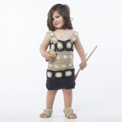 Askılı Motifli Örgü Siyah Çocuk Elbisesi