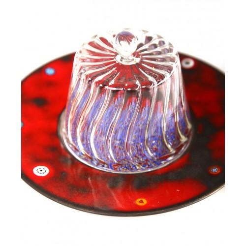 Fes Bakır Cam Şekerlik - Kırmızı