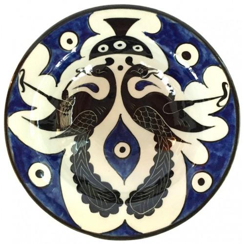 Selçuklu Kuş Motifli Kobalt İznik Çini Tabak