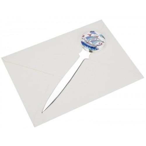 Kalyon Motifli Çini Gümüş Zarf Açacağı