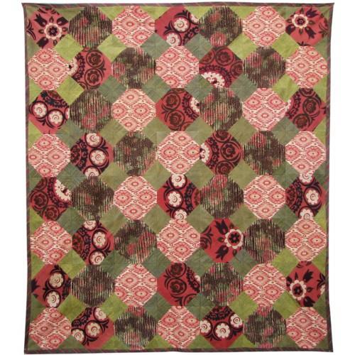 İpek Koton Vintage Yeşil Kırmızı Yatak Örtüsü