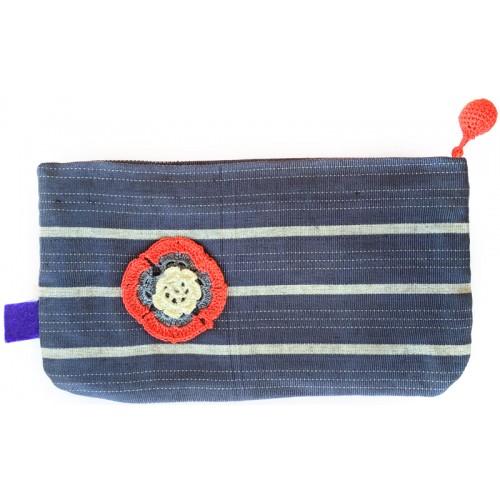Küçük Kutnu Cüzdan - Mavi, Gri Çizgili