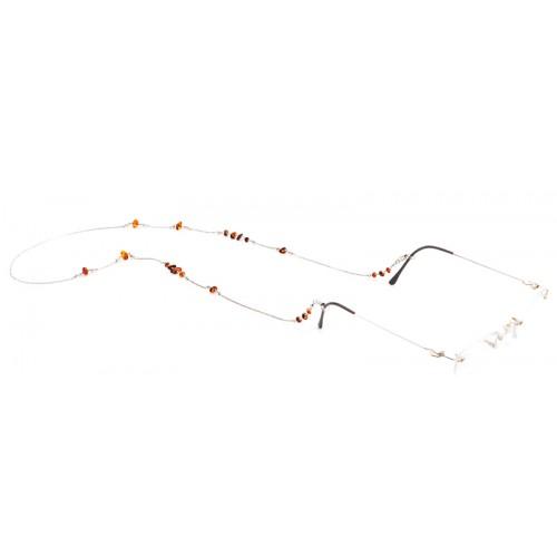 Kehribar Taşlı Gümüş Gözlük Zinciri