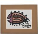 Dil Balığı Paspartulu Yazma - Kahverengi