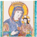 Bizans Meryem ve İsa Fresko Seramik Pano