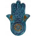 Fatma'nın Eli (Hamsa) Seramik Tablet - Turkuaz