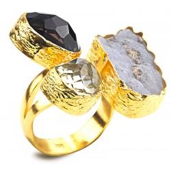Quartz ve Kalsedon Taşlı Altın Kaplama Gümüş Yüzük