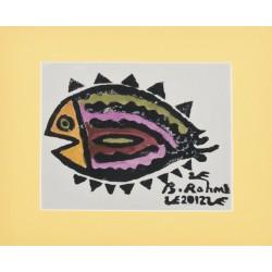 Dil Balığı Paspartulu Yazma - Sarı