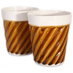 Kahverengi Porselen Bardak - Spiral