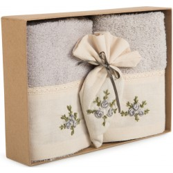 Havlu Seti - Çiçek Nakışlı