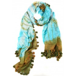 Yeşil Turkuaz Püsküllü İpek Koton Batik Şal