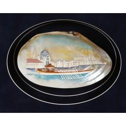 Sedef içine Dolmabahçe Sarayı Önünde Saltanat Kayığı Minyatür