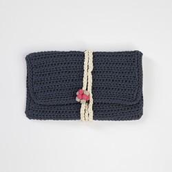 Üzüm Düğmeli Lacivert Clutch Çanta