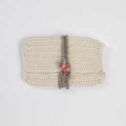 Üzüm Düğmeli Ekru Örgü Clutch Çanta