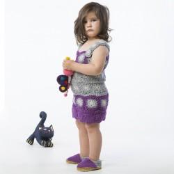 Askılı Motifli Örgü Mor Çocuk Elbisesi