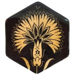 Çiçek Desenli Altıgen İznik Çini Bardak Altı