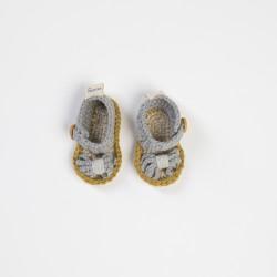Gri Örgü Bebek Sandaleti