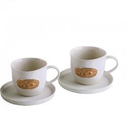 """""""Göz"""" Altın Detaylı Porselen Kahve Fincanı Seti"""