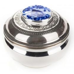 Kuvars Çinili Gümüş İlaç Kutusu