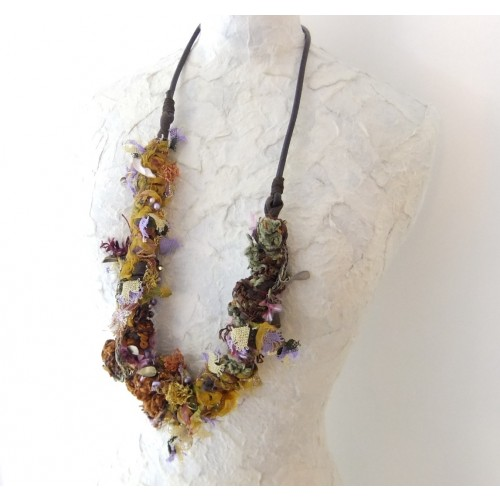 Vintage Necklace with Leather Strap