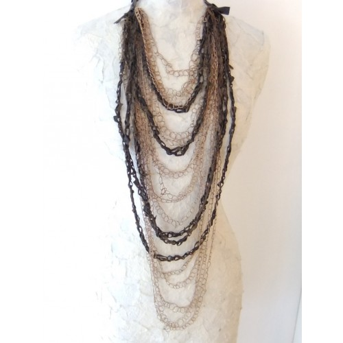 Braided Necklace - Leather and Ecru Silk Threads