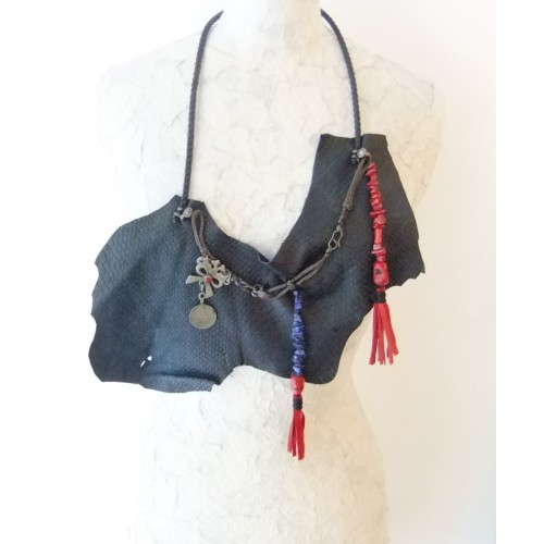 Vintage Leather Necklace Accessorized with Lapis Lazuli and Coral