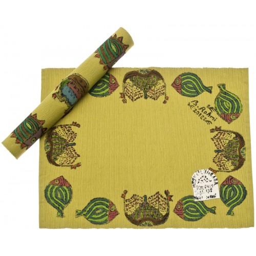 Bedri Rahmi Block Printed Table Mat - Green