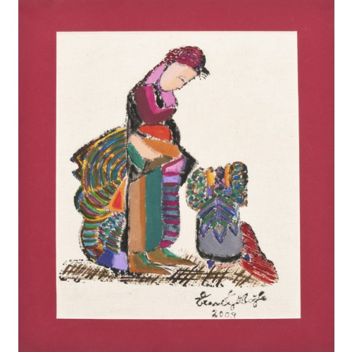 """Villager Girl"" Passepartout Block Printing - Red"