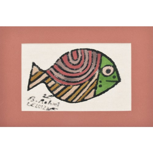 """Sea Bream"" Passepartout Block Printing - Brick red"