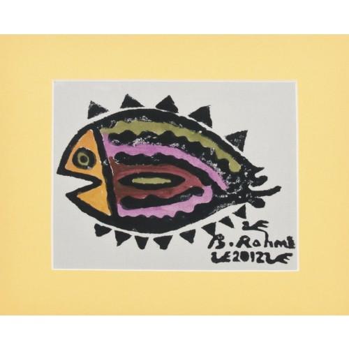 """Flounder"" Passepartout Block Printing - Yellow"