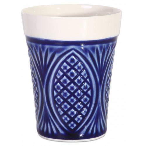 Dark Blue Porcelain Mug - Pineapple