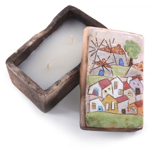 Windmill and Village Rectangular Candle holder
