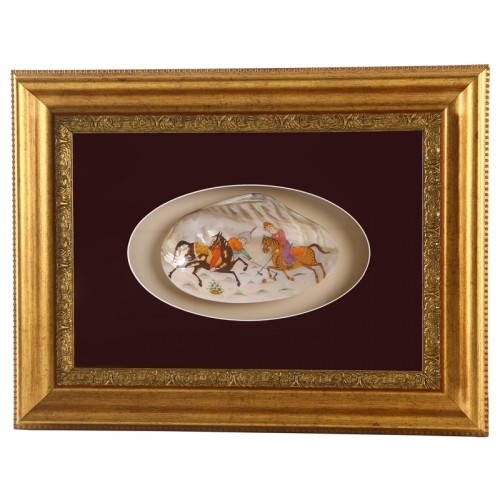 Hunting Scene Miniature on Mother of Pearl